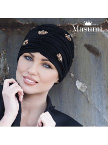 Masumi - Turbante Diamond Black Golden Shell (bambú)